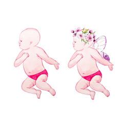 Watercolor baby vector