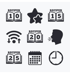 Cookbook icons twenty five recipes book sign vector