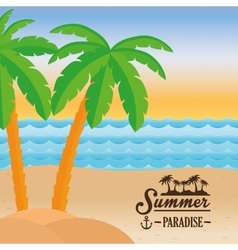 Poster summer paradise beach sea palm tree design vector