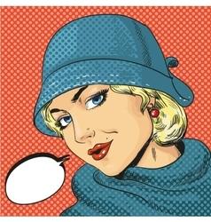 Woman in hat retro pop art vector
