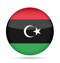 Flag of libya shiny round button vector