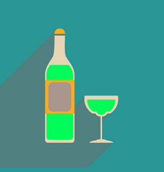 Flat web icon with long shadow glass of wine vector