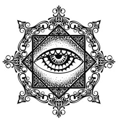 Eye pyramid mandala symbol vector
