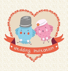 Invitation or wedding card with two bird vector