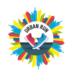 Running shoes sport competition concept with city vector