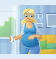 Pregnant woman feel sick vector