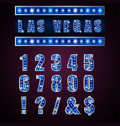 Show lamps blue alphabets and numbers vector