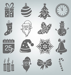 Set of christmas icons isolated vector