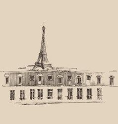 Eiffel tower paris france architecture vintage vector