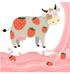 Fruit strawberry milk splash milk cow vector