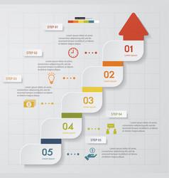 5 steps arrow shape order template vector image
