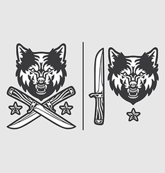 Wolf head with crossed knives logo emblem vector