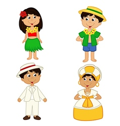 Set of isolated children of hawaii and brazil vector
