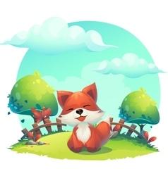 Fox in the grass - a childrens cartoon vector