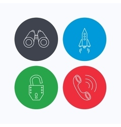Phone startup rocket and search icons vector