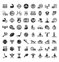Big fitness icon set vector