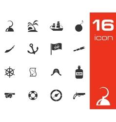 black pirates icons set vector image vector image