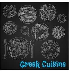 Blackboard menu of chalk sketched greek dishes vector image