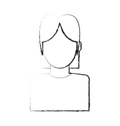 Blurred silhouette faceless half body woman with t vector