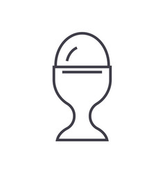 boiled egg line icon sign on vector image