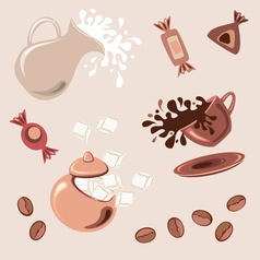 Breakfast with coffee vector image