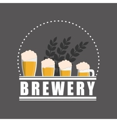 brewery beer glasses label gray background vector image