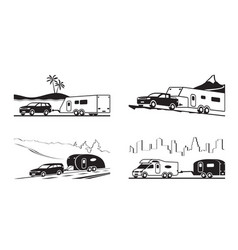 cars with caravans and camper vector image