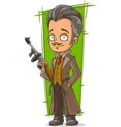 Cartoon smart detective in coat vector image vector image