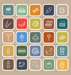 fast food line flat icons on brown background vector image
