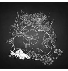 Graphic aquarium fish with broken jar vector image vector image