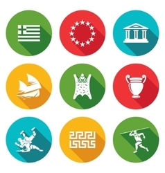 Greece icons set vector
