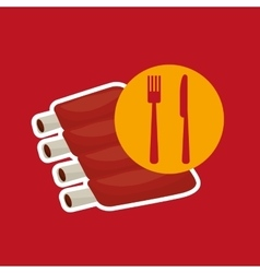 Grill fast food concept lamb chops vector