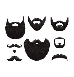 Hand drawn beards and mustaches collection vector