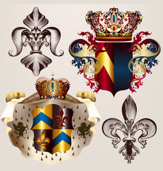 heraldic set of designs with coat of arms crowns vector image