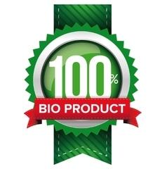 Hundred percent bio product green ribbon vector image