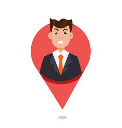 mapping pin character emotion vector image vector image
