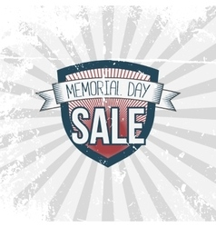 Memorial day sale label and ribbon with text vector