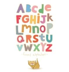Paper alphabet with origami cat vector