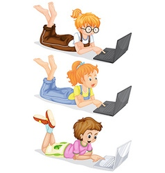 People using laptop computer vector image vector image