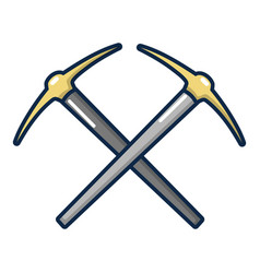 Pick axe tool icon cartoon style vector