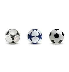realistic soccer balls or football balls set vector image