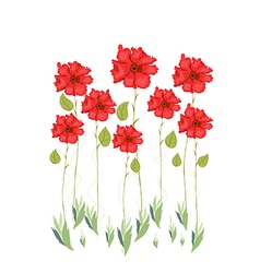 Red flowers watercolor vector