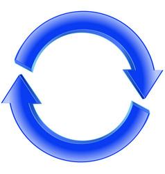 Refresh icon shiny blue sign circular arro vector