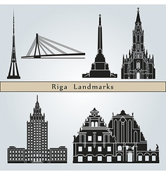 Riga landmarks and monuments vector