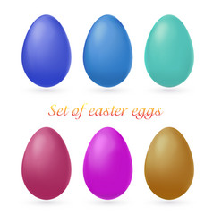 Set of multi-colored easter eggs isolated on white vector