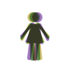 Woman sign colorful icon vector