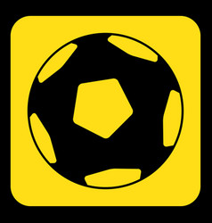 yellow black sign - football soccer ball icon vector image
