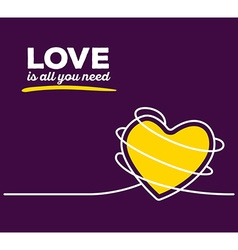 yellow color heart with white wire and te vector image
