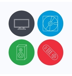 Sound tv remote and hard disk icons vector