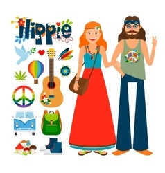 Hippie people icons vector